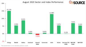 August 2020 Sector and Index Performance