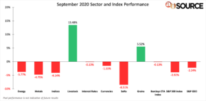 September 2020 Sector and Index Performance